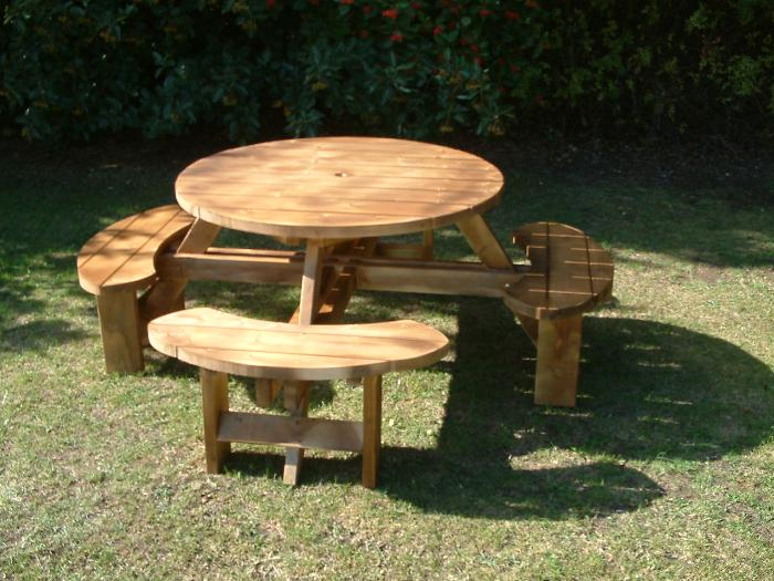 Round Tables and Picnic tables Garden Furniture in this section. Pub Picnic Benches  Round Tables  Excalibur round picnic tables