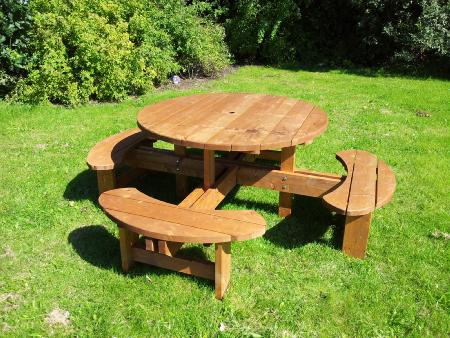 Pub Picnic Benches Round Tables Excalibur Round Picnic Tables - 8 seater round picnic table